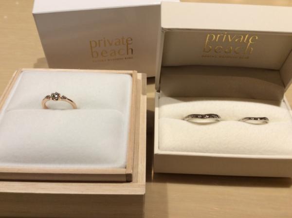 【大阪】輝彩の婚約指輪とPrivate beachの結婚指輪